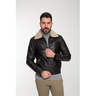Men's leather jacket with removable fur collar