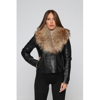 WOMEN'S LEATHER JACKET WITH FOX FUR COLLAR